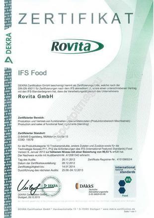IFS сертификат Rovita