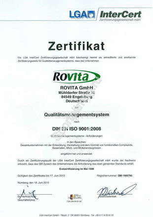 ISO сертификат Rovita